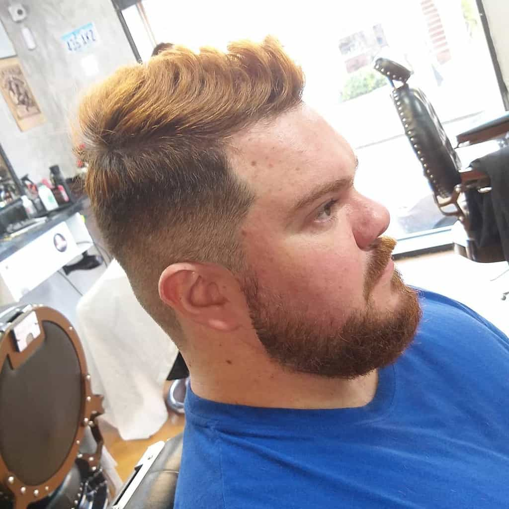 Man with red hair and blond highlights-barber.victor013