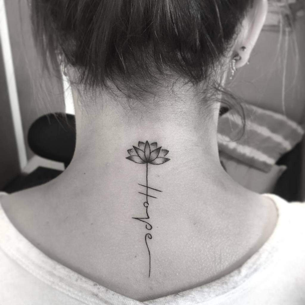 Meaningful Back of Neck Tattoos inked_by_tahlia