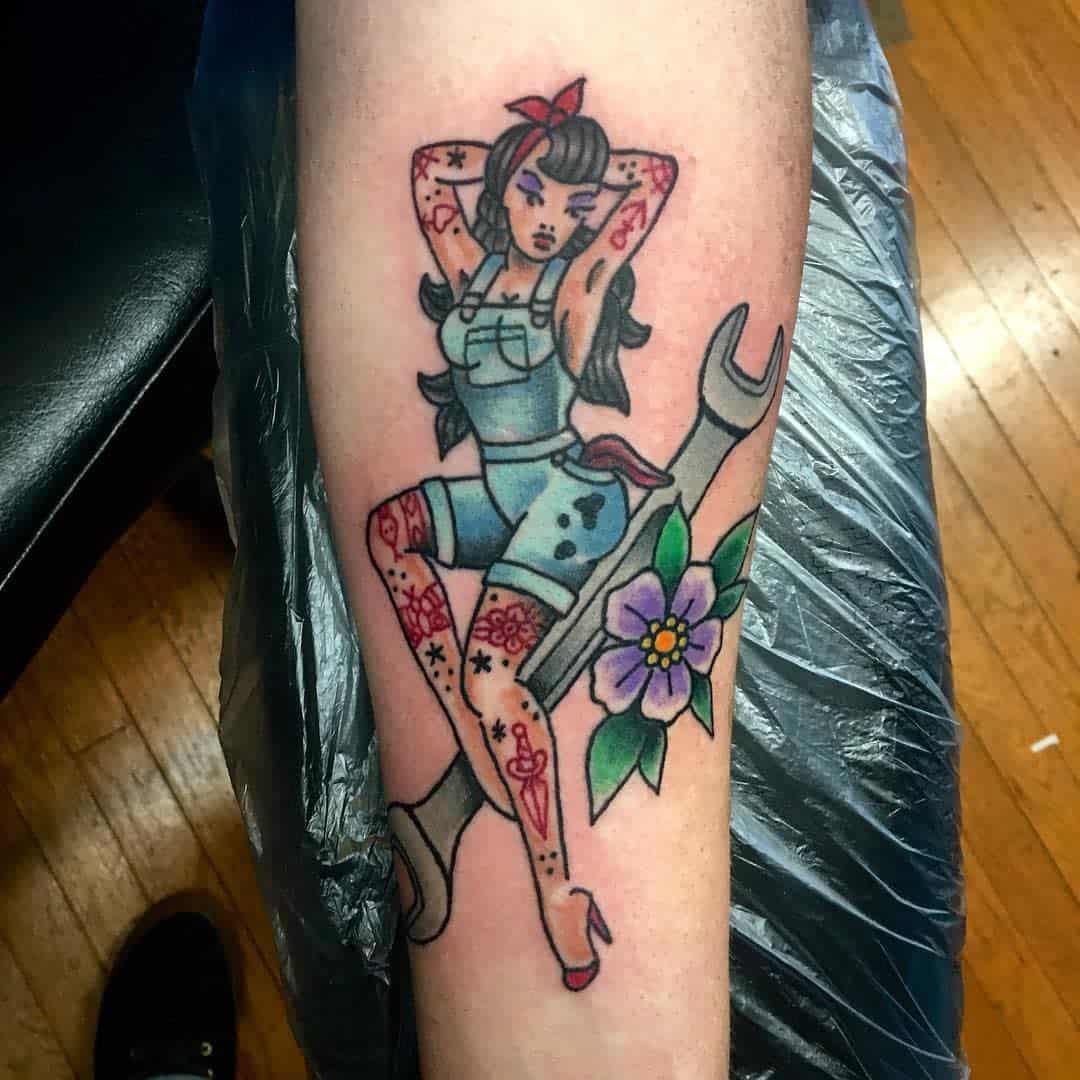 Mechanic Pin Up Girl Tattoo -trevorhowellstattooer