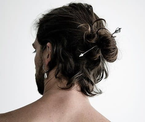 Men's Ponytail Hairstyle for Curly Hair