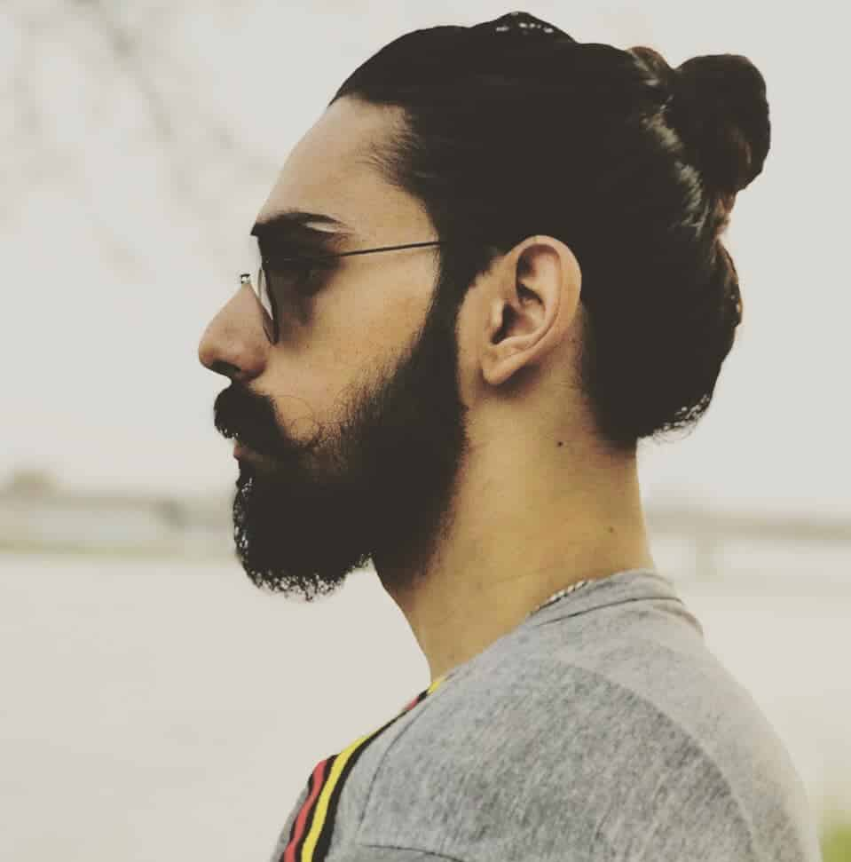 Men's Ponytail with Facial Hair