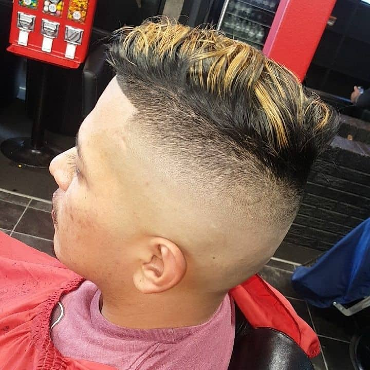 Men's Hi Top Fade Featuring Completely Shaven Sides And Back