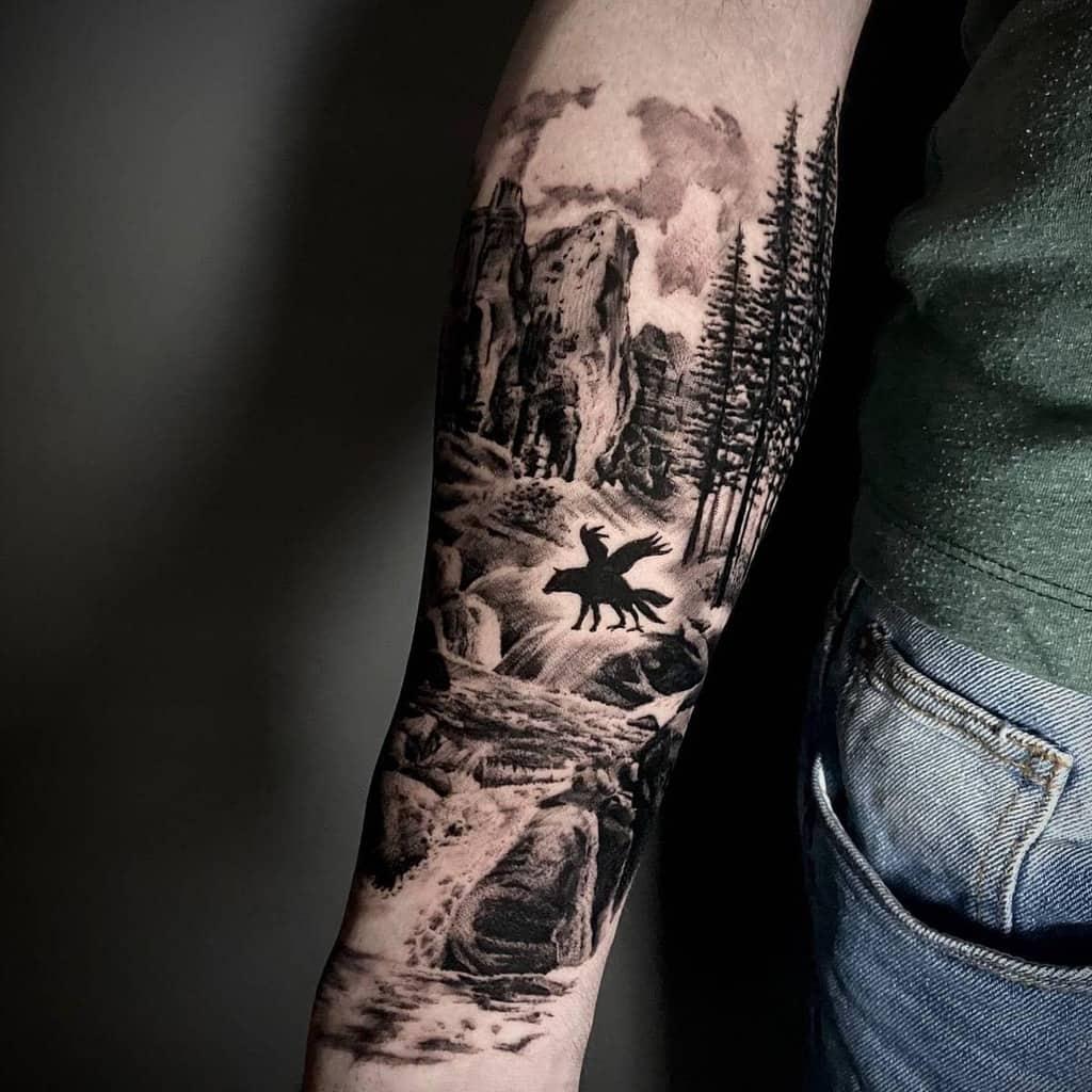 Men Forest Sleeve Tattoos orifedex