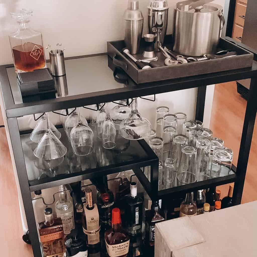 Metal Bar Cart Ideas -theprettysocialcollective
