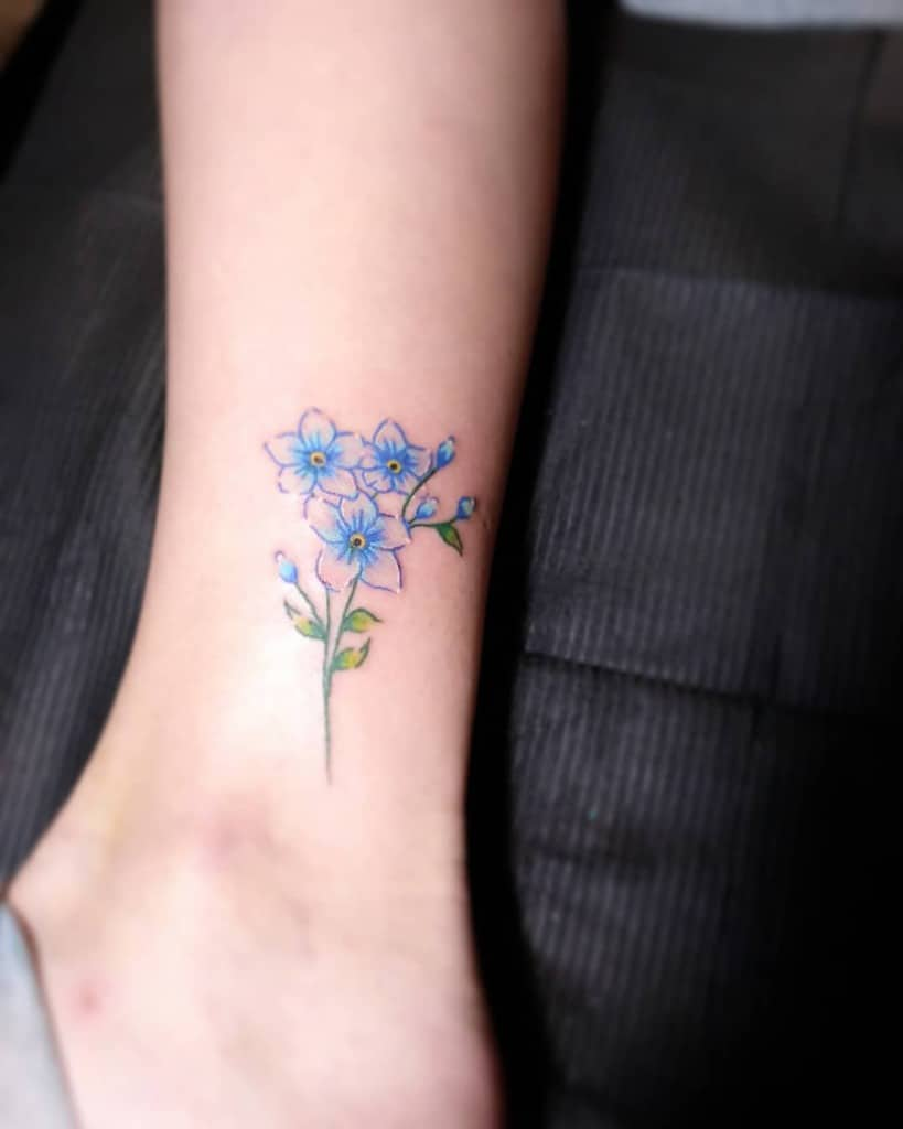 Minimalist Flower Ankle Tattoo kassidiebrown