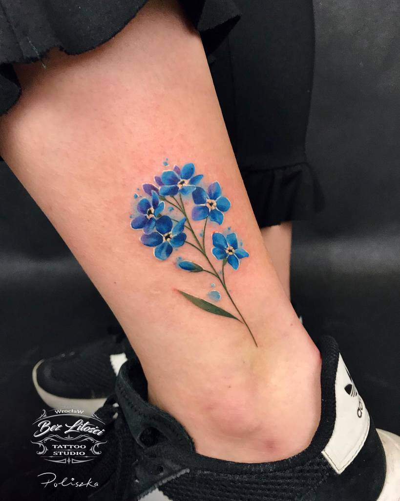 Minimalist Flower Ankle Tattoo poliszka_tattoo