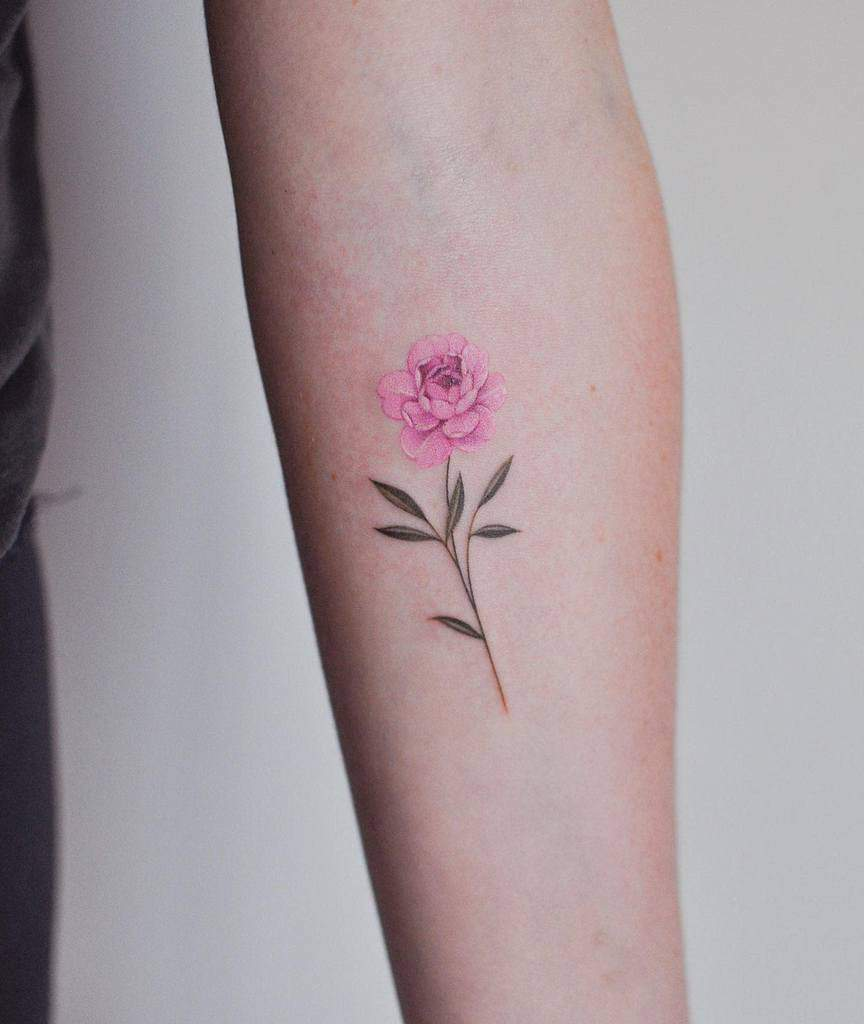 Minimalist Flower Forearm Tattoo jennyli_tattoo