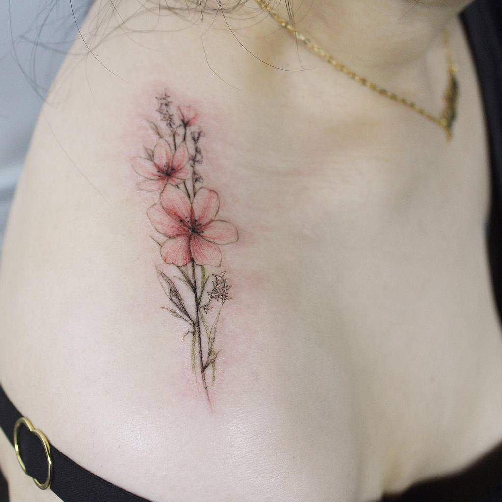 Minimalist Flower Shoulder Tattoo tattooist_giho_