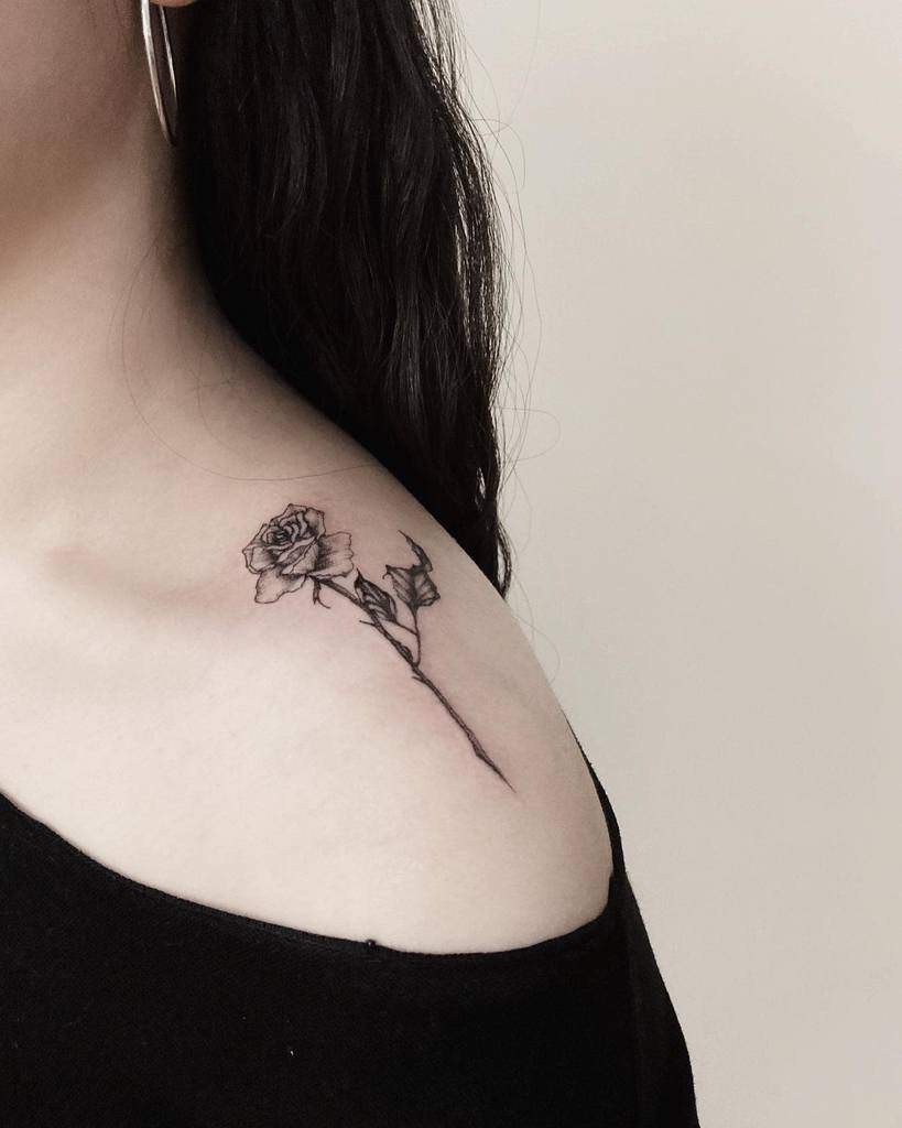 Minimalist Flower Shoulder Tattoo why.rose_tatart