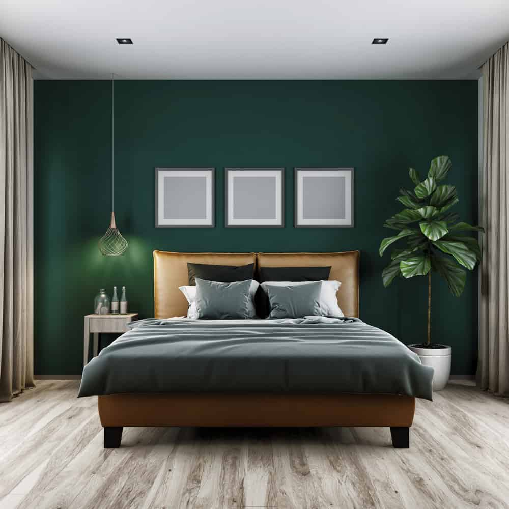 Modern,Bedroom,Dark,Tone,And,Green,Wall,3d,Rendering