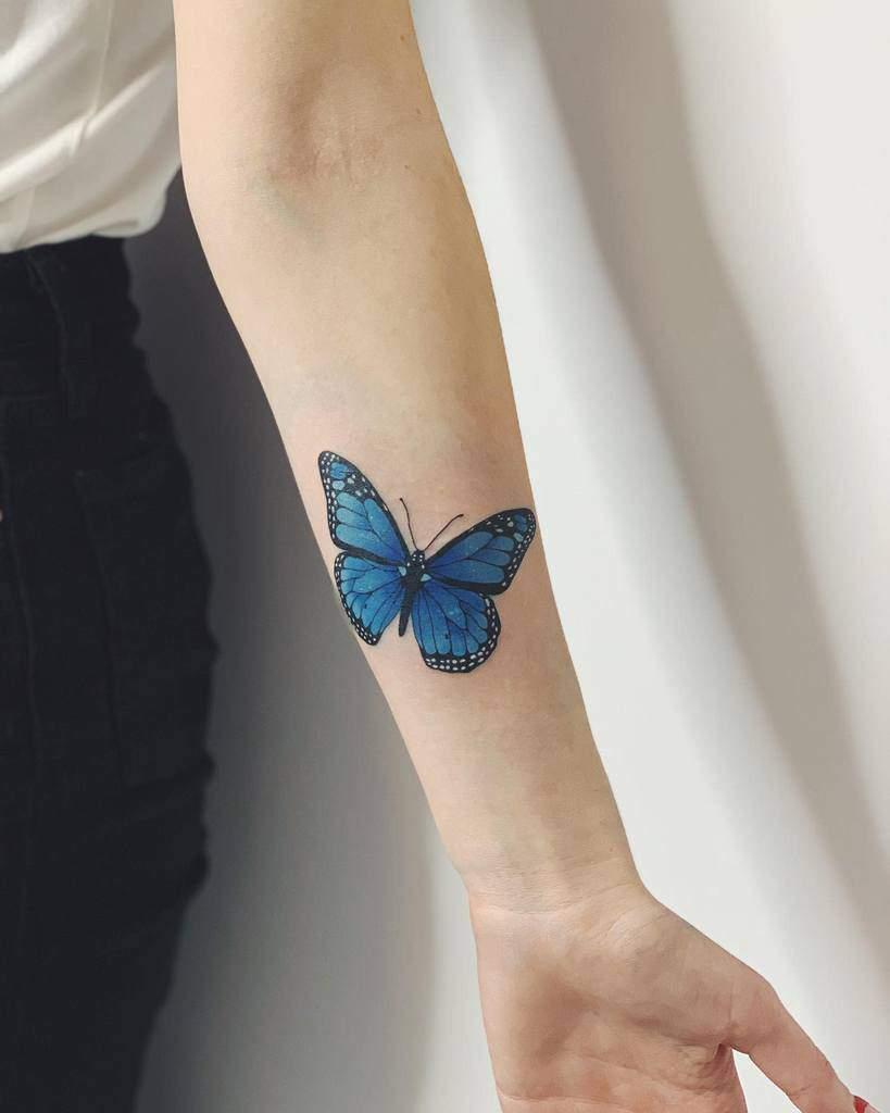 Monarch Blue Butterfly Tattoos hornedqueen_ink