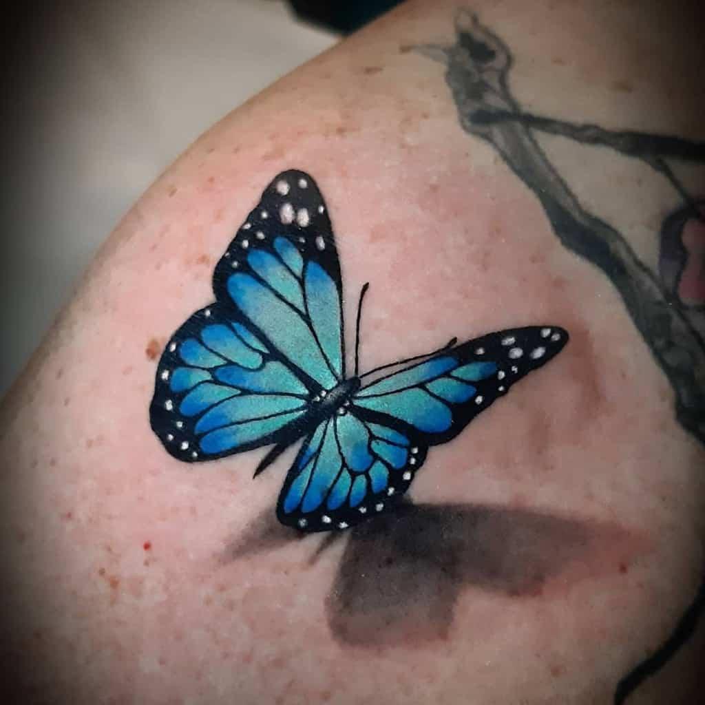 Monarch Blue Butterfly Tattoos la_scimmia_tatuata