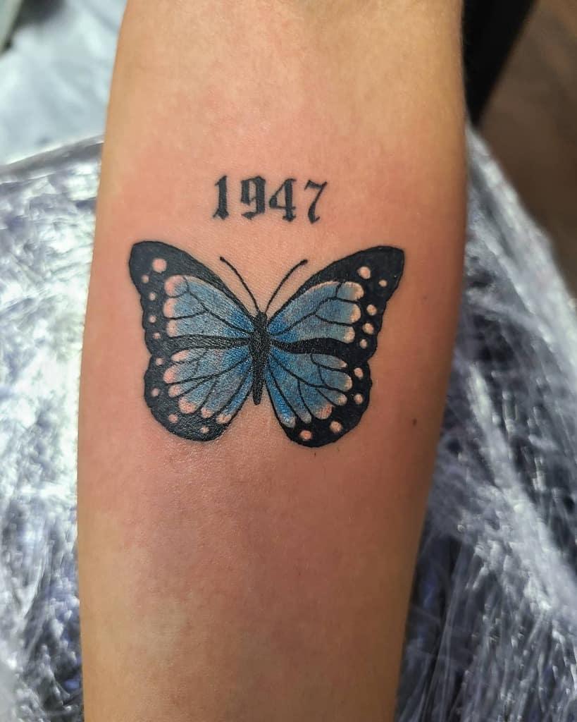 Monarch Blue Butterfly Tattoos tattdaddy1994