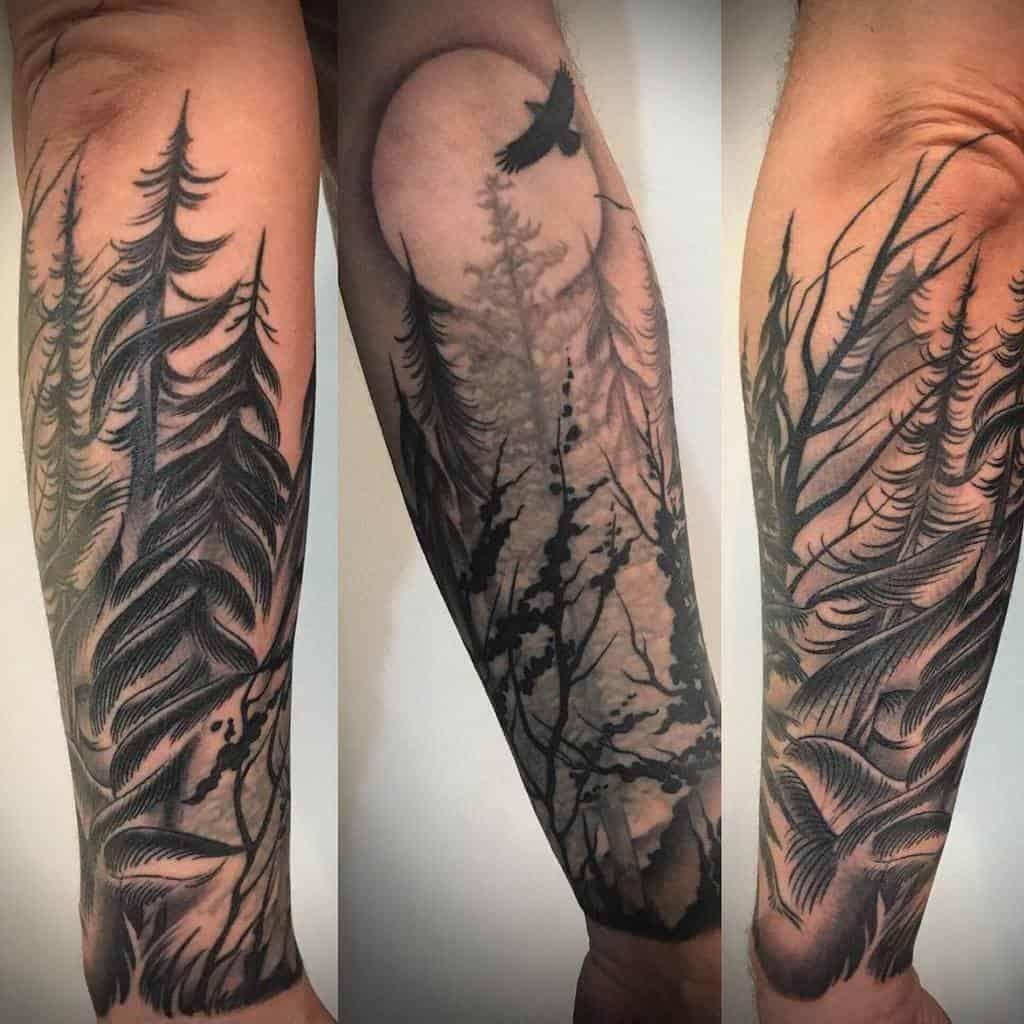 Moon Forest Sleeve Tattoos claewelch