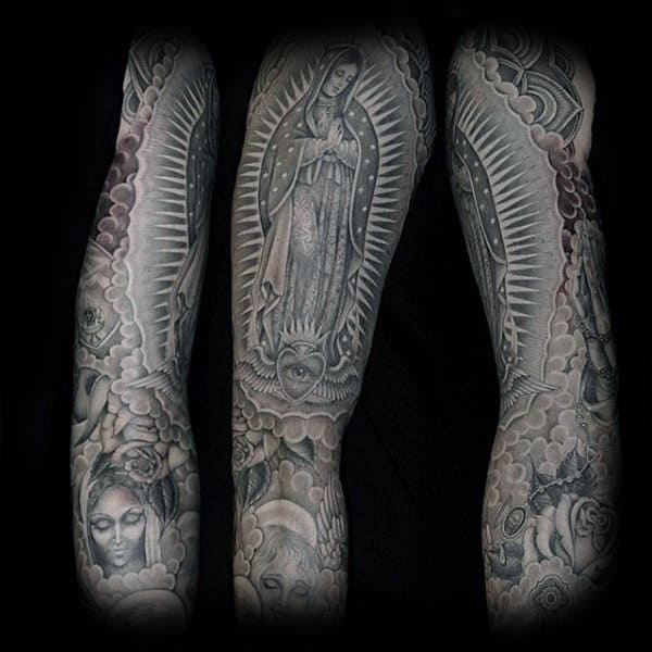 Mother Mary Praying Religious Tattoo Male Sleeves