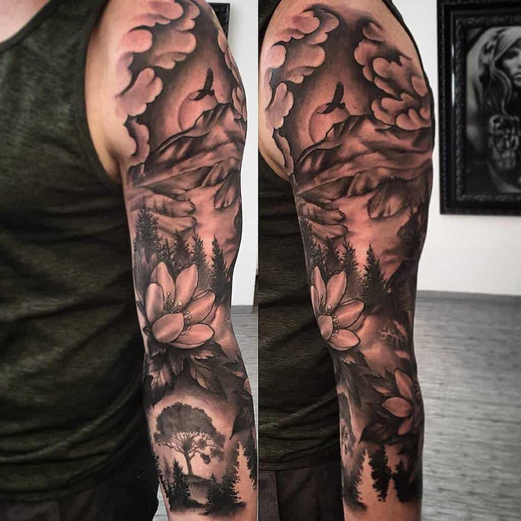 Mountain Forest Sleeve Tattoos bjartefrabergen