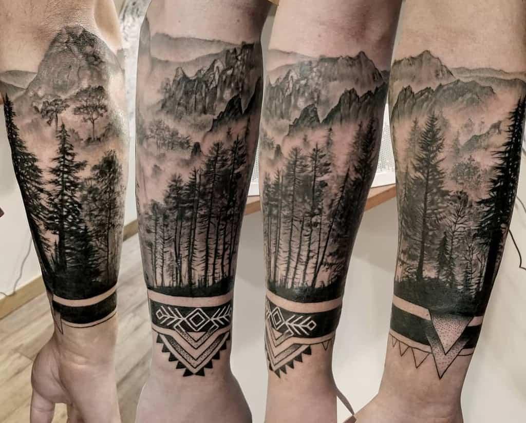 Mountain Forest Sleeve Tattoos chloetattooartist