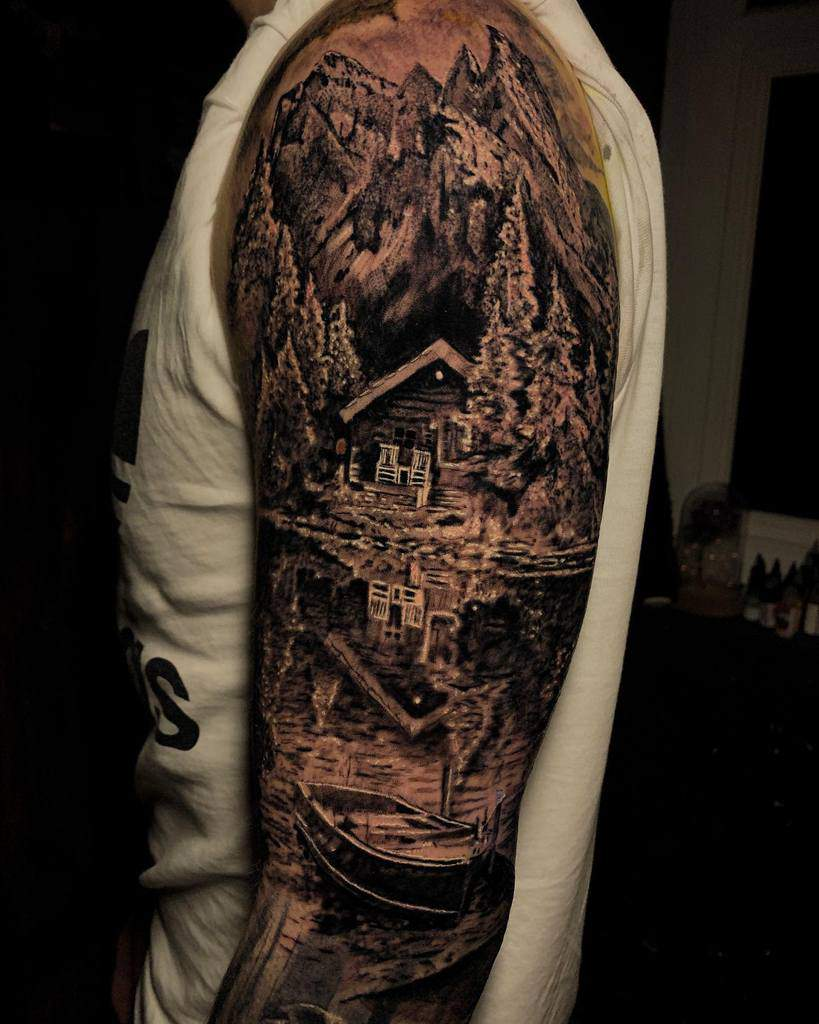 Mountain Forest Sleeve Tattoos haydntattoo
