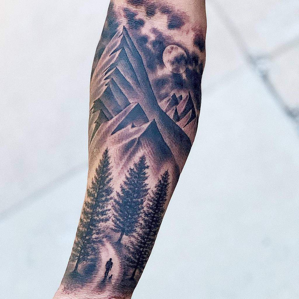 Mountain Forest Sleeve Tattoos samtattoo85