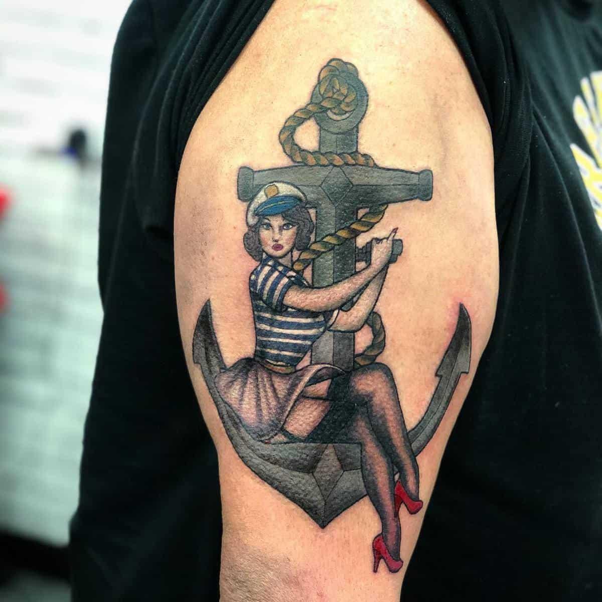 Navy Pin Up Girl Tattoo -haze.tattoo