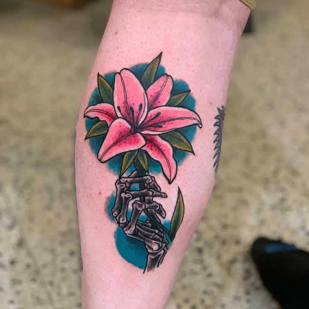 Neo Traditional Lily Tattoo Anton Schafer