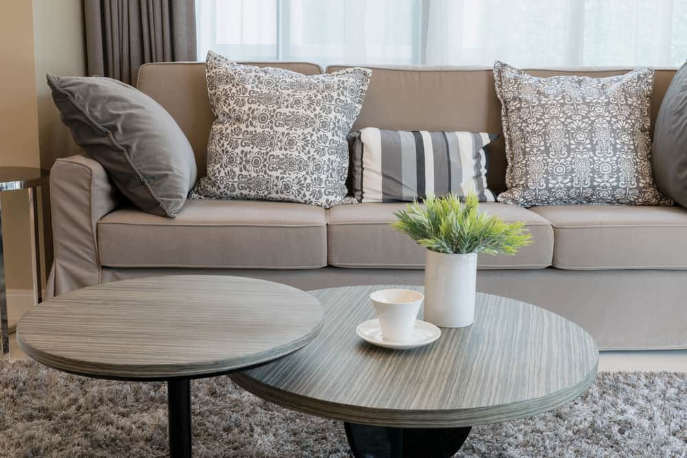 Sturdy,Brown,Tweed,Sofa,With,Grey,Patterned,Pillows