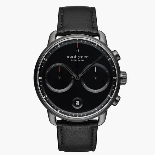 Nordgreen Pioneer Chronograph Watch With Black Leather Strap