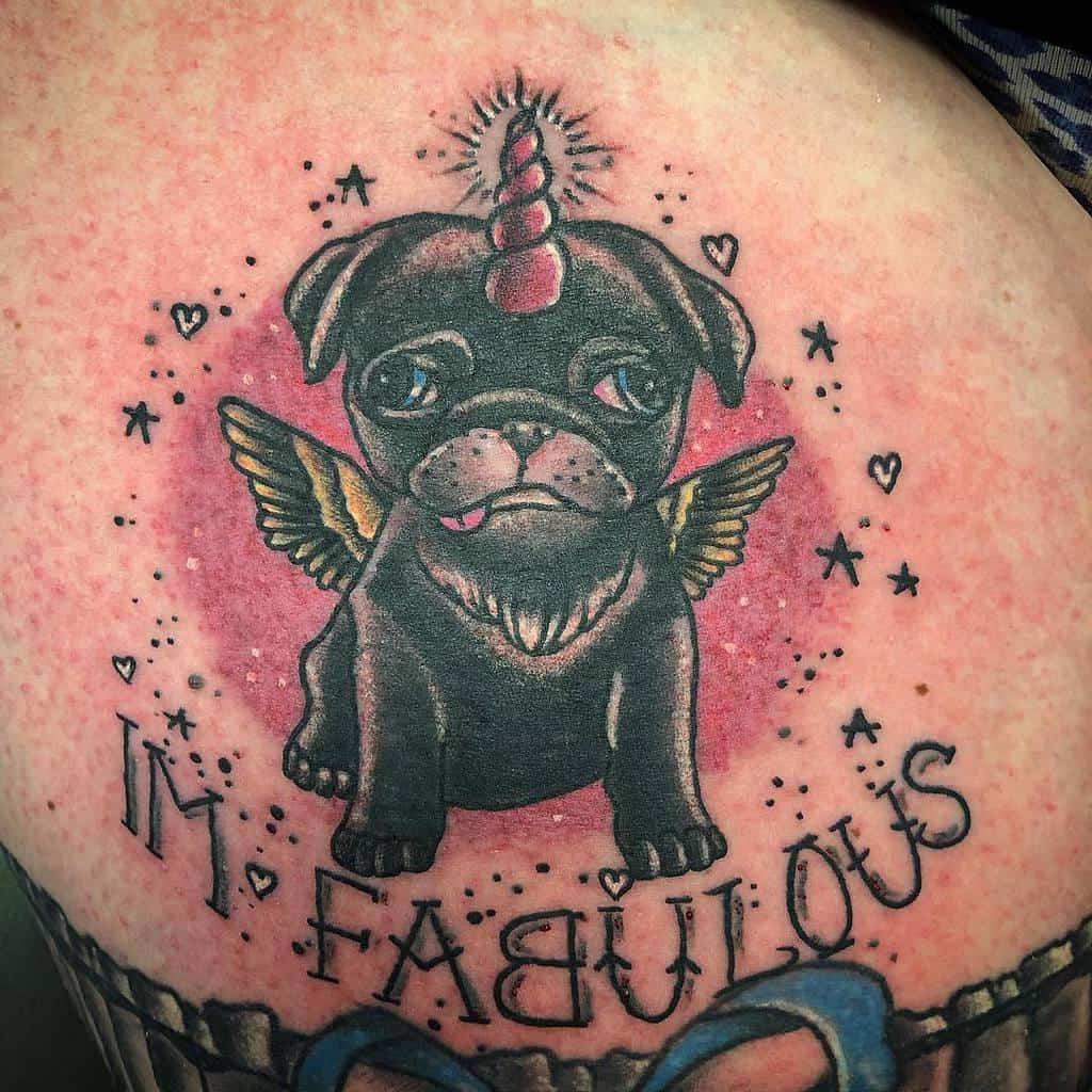 Old School Traditional Pug Tattoo Ideas mandalatattoostudio