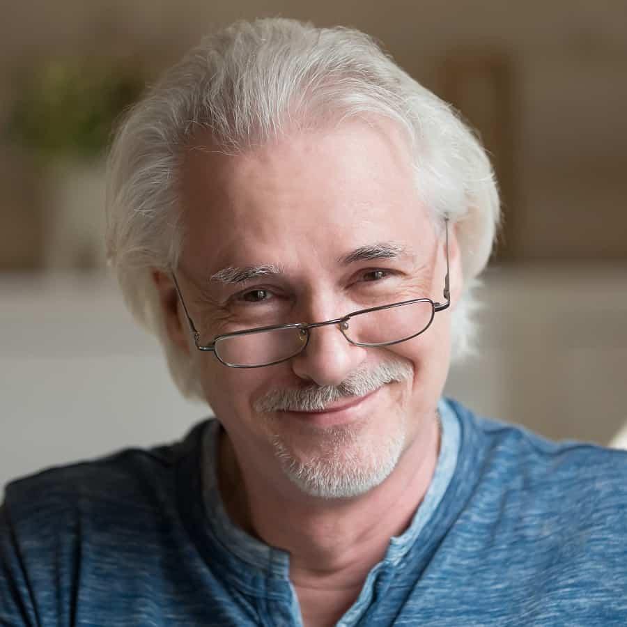 Older Man With Medium Length Hair