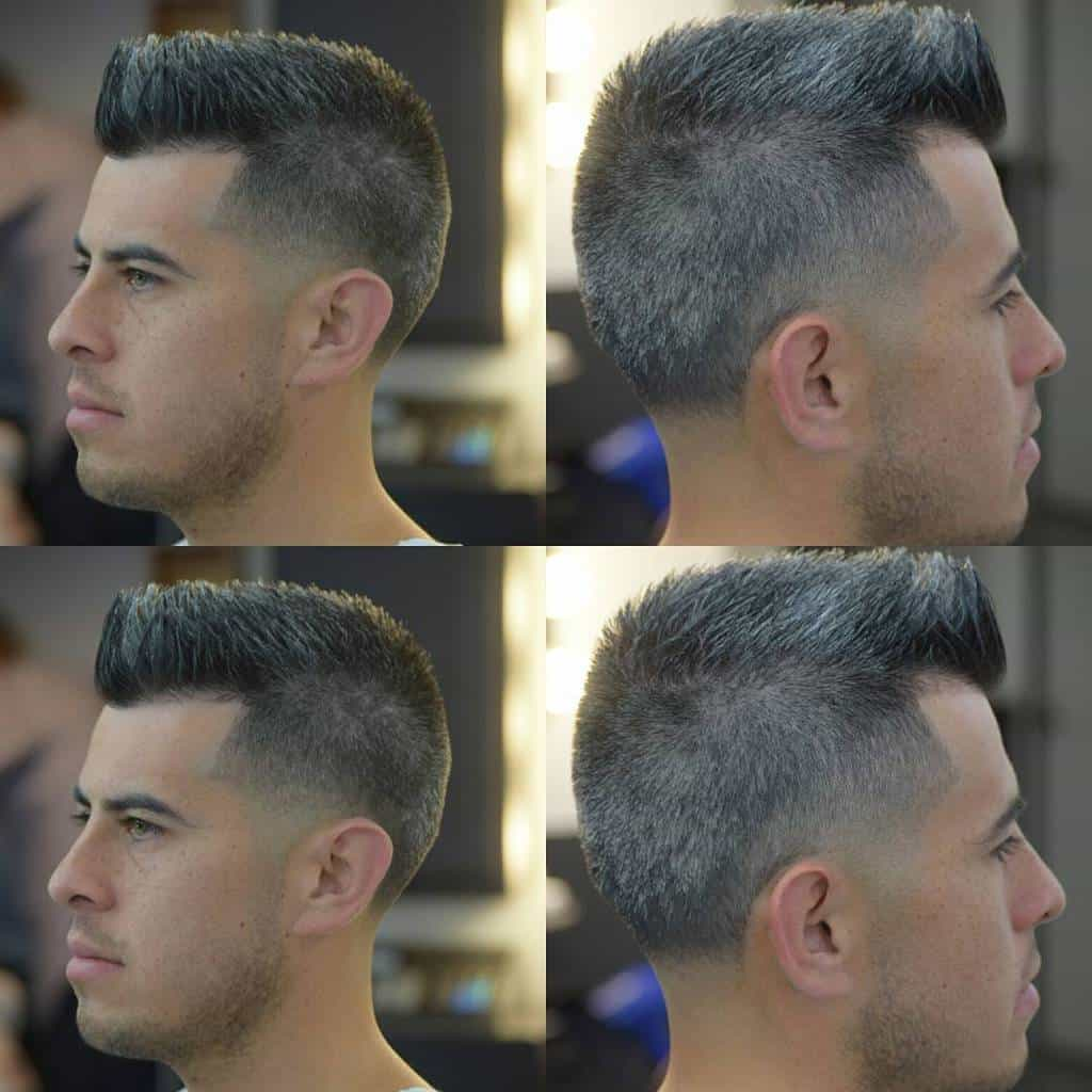Older Men's Haircut Featuring Gray And Black Hair