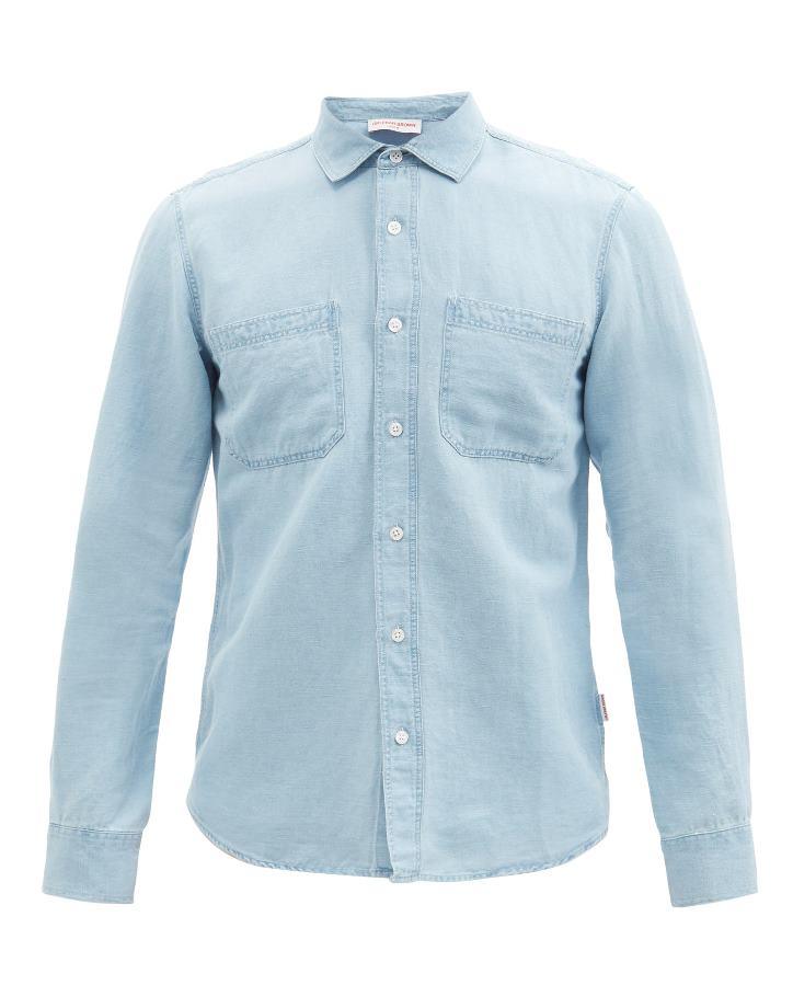 Orlebar Brown Giles Washed Linen-Blend Denim Shirt