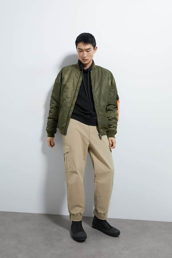 Oversized bomber jacket with high collar