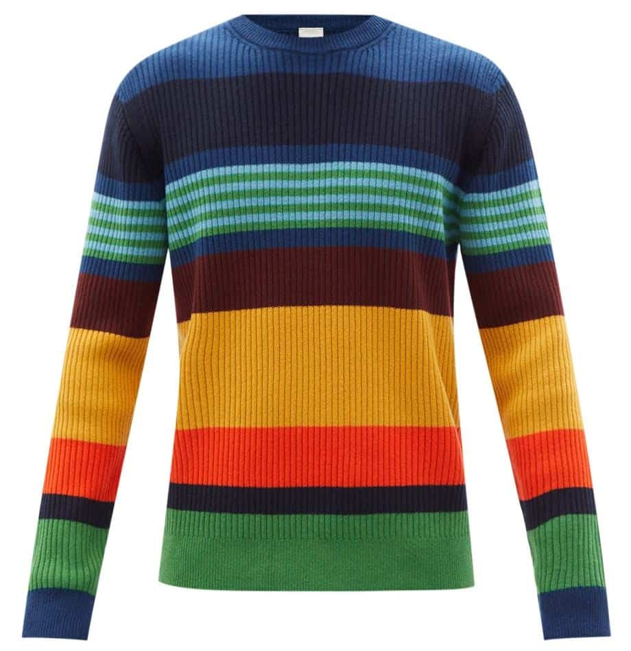 Paul Smith Crewneck Striped Ribbed Wool Sweater