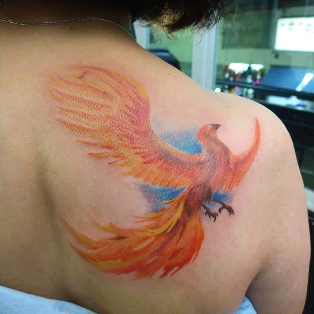 Phoenix Rising Back Tattoo luxuriousbosques