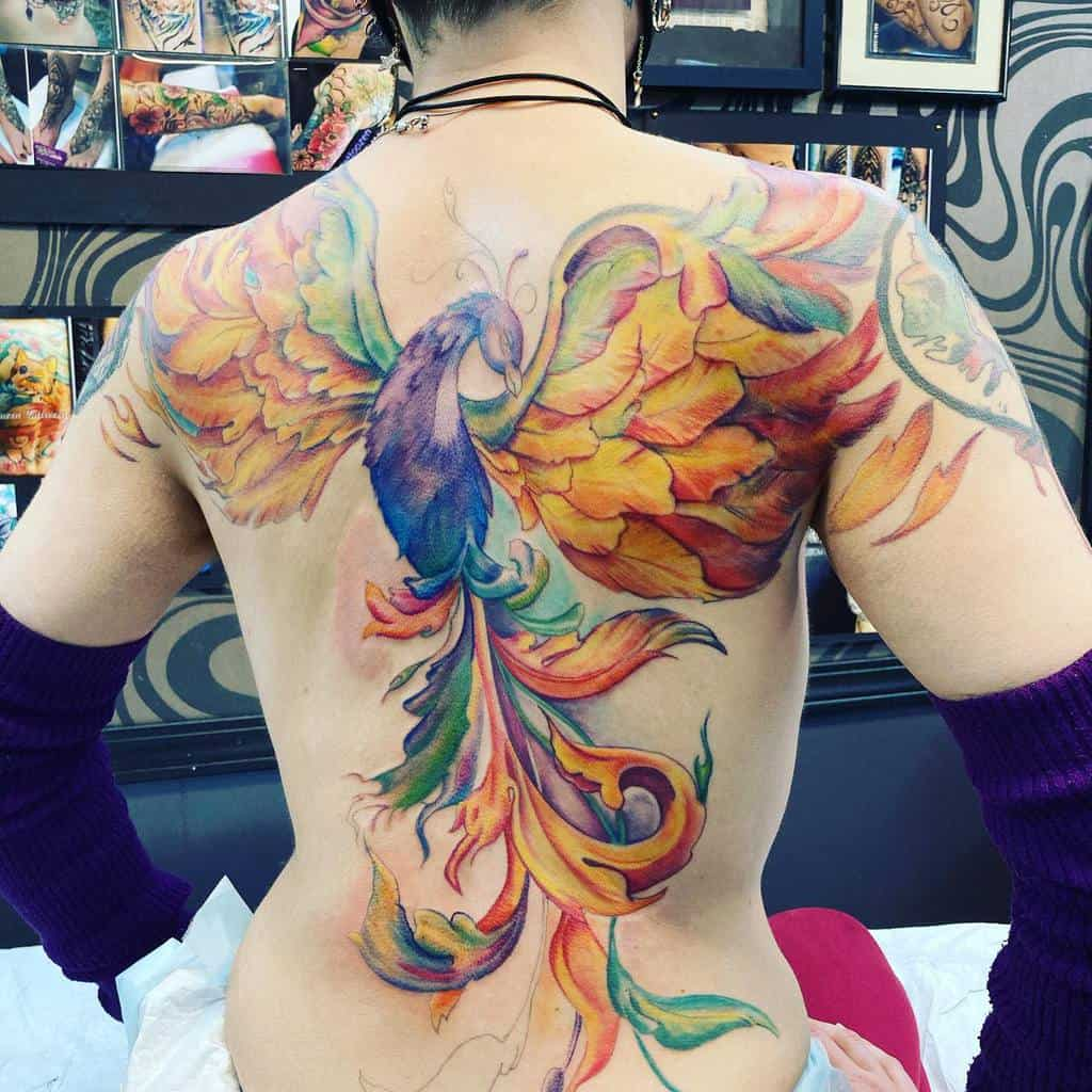 Phoenix Rising Back Tattoo whiteakertattoo