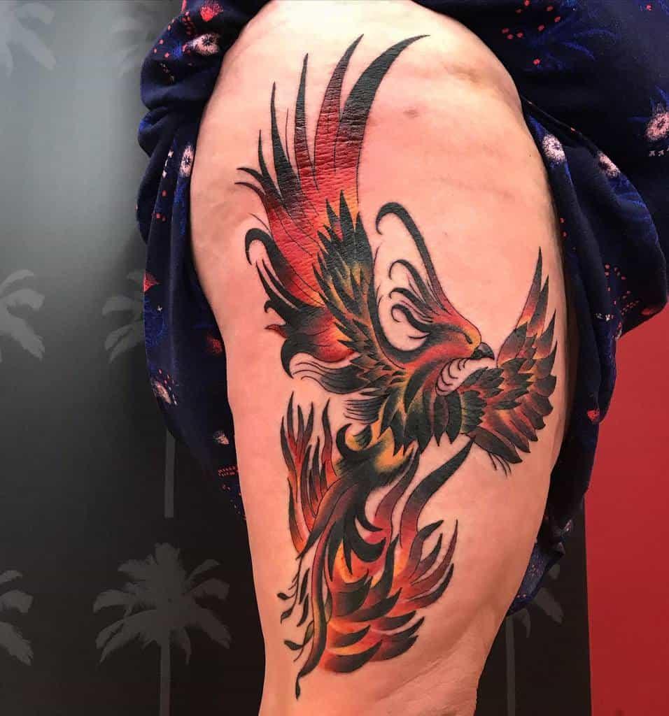 Phoenix Rising Hip Tattoo redemptiontattoo_somerville