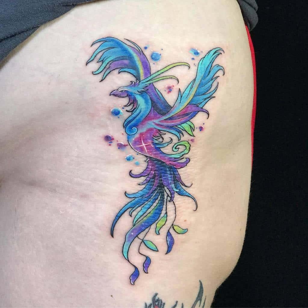 Phoenix Rising Hip Tattoo yantinotattoo
