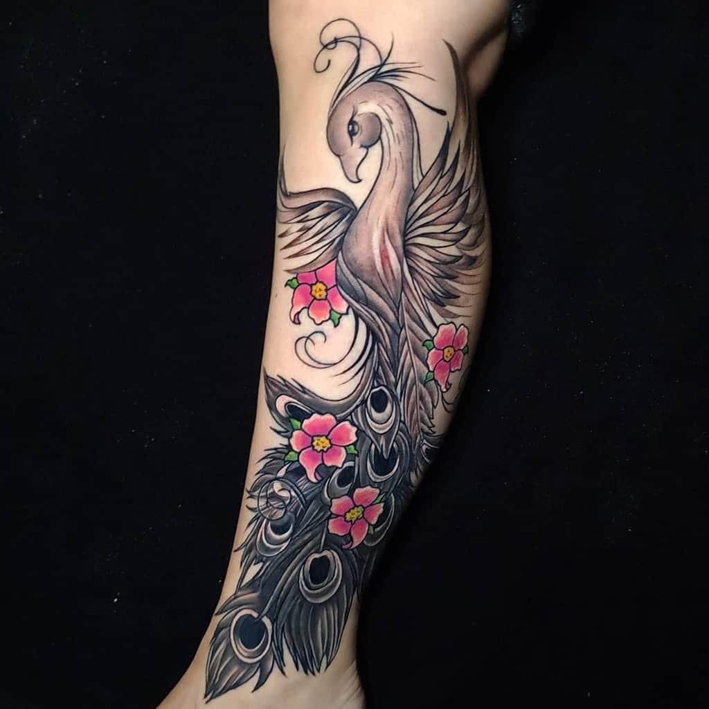 Phoenix Rising Leg Tattoo tattootommy_markerkant