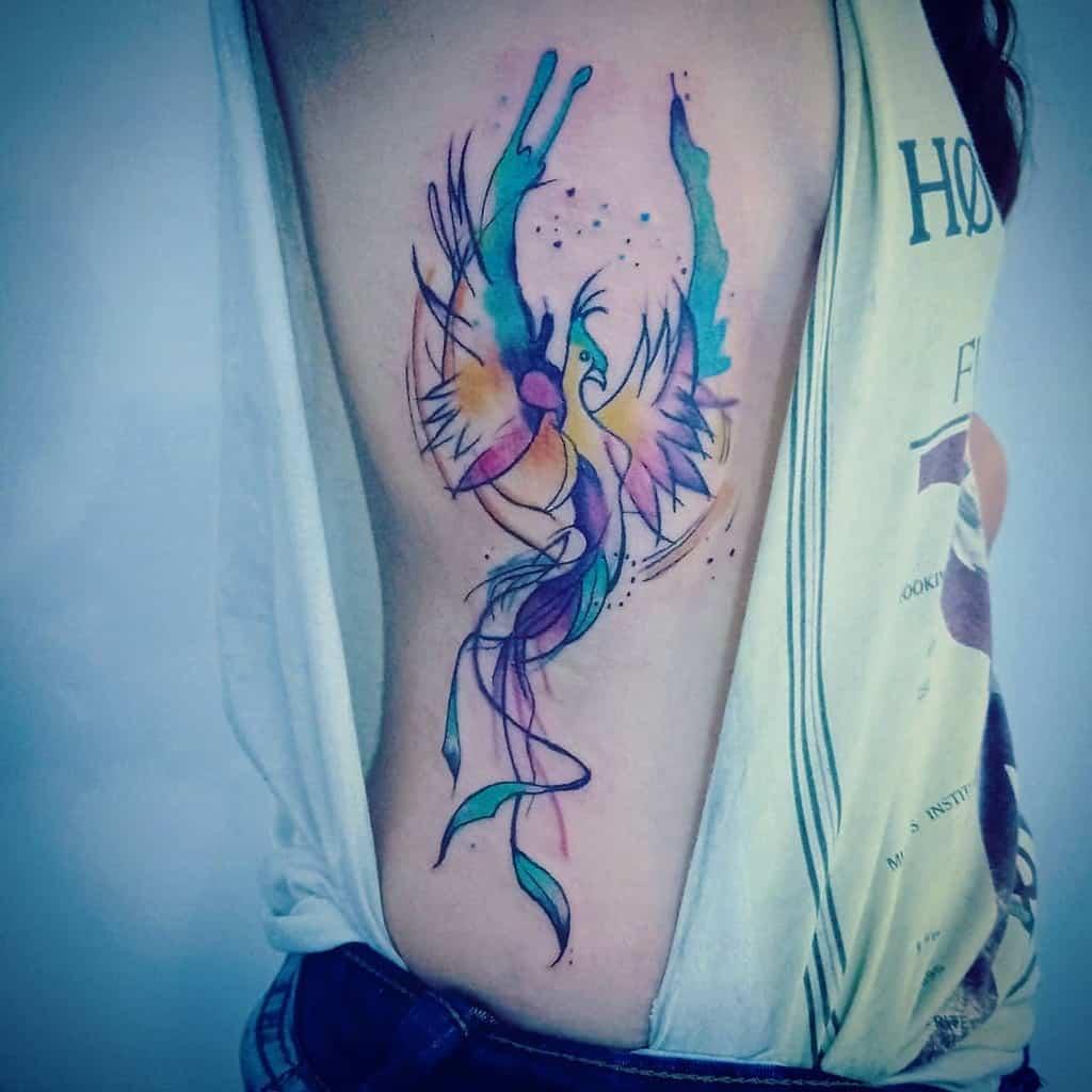 Phoenix Rising Watercolor Tattoo jeremias.tattoo