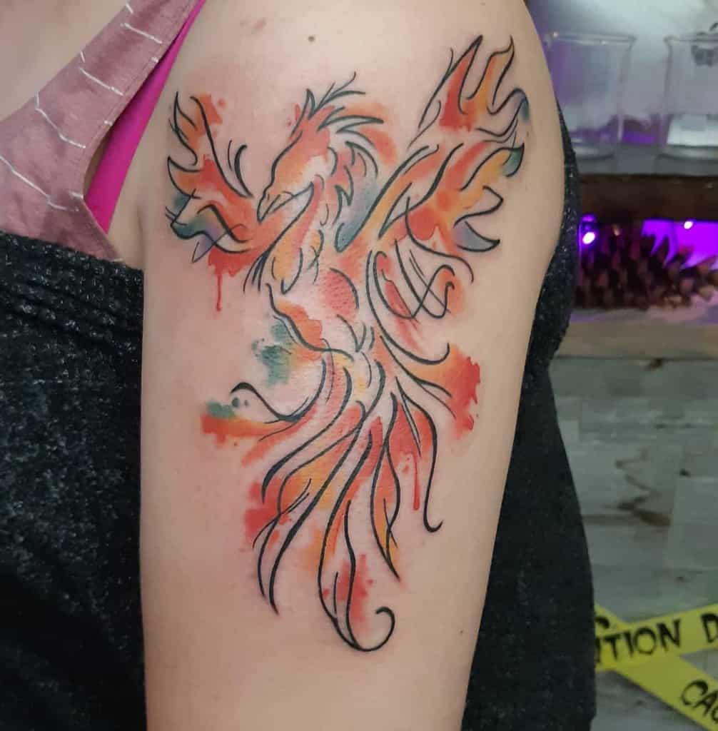 Phoenix Rising Watercolor Tattoo kristenptattoos