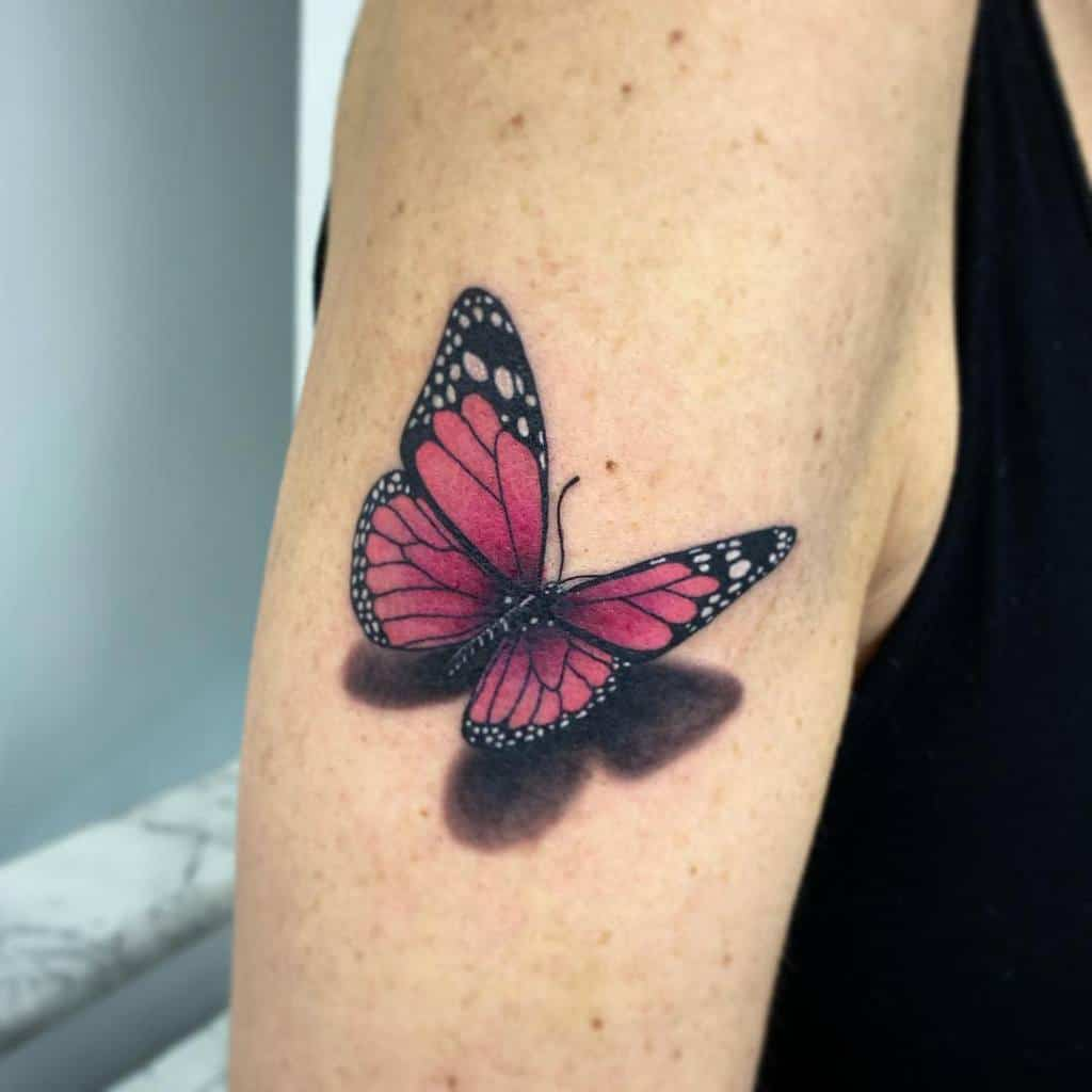 Pink 3D Butterfly Tattoo claude_le_tatoueur