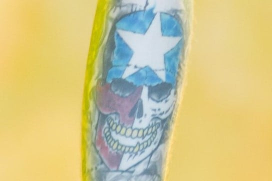 Post Malone Color Skull Tattoo Left Forearm