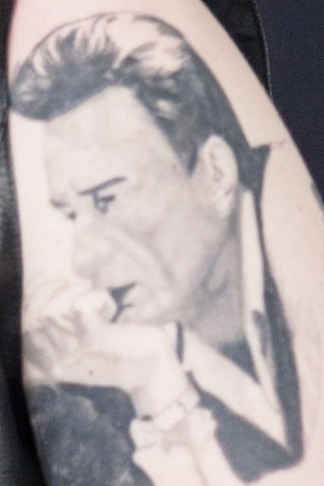 Post Malone Johnny Cash Portrait Tattoo Left Bicep