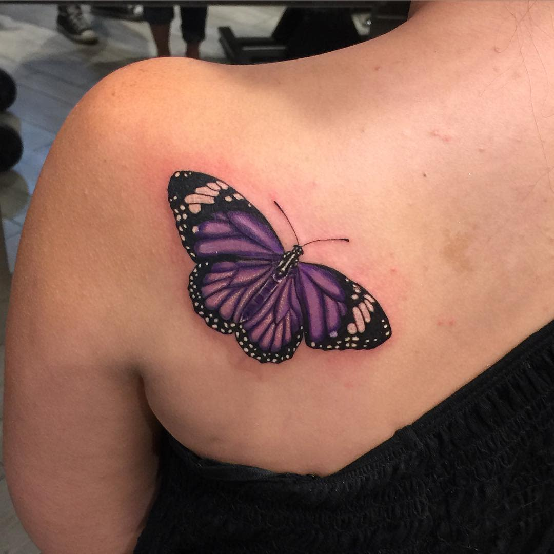 Purple Butterfly Ankle Tattoo g_gravestattoos