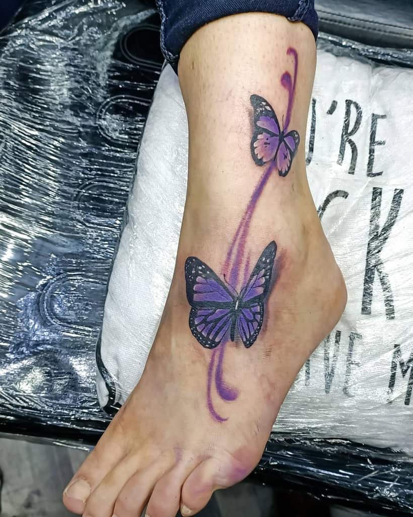 Purple Butterfly Ankle Tattoo keimacabre
