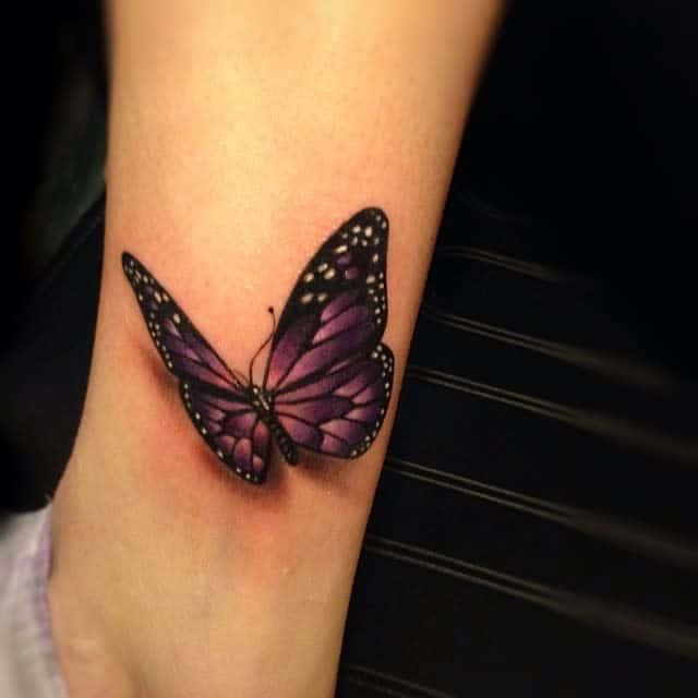 Purple Butterfly Ankle Tattoo krispatay