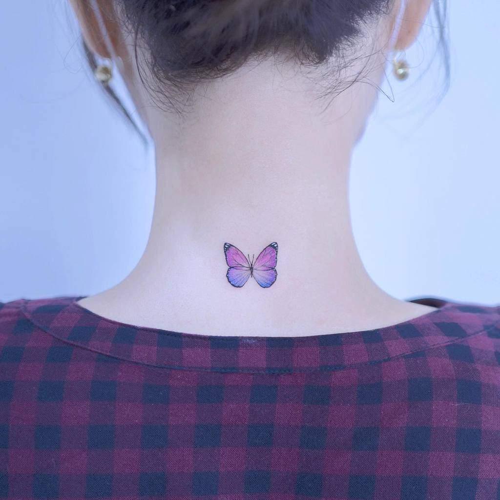 Purple Butterfly Back Tattoo heim__tattoo
