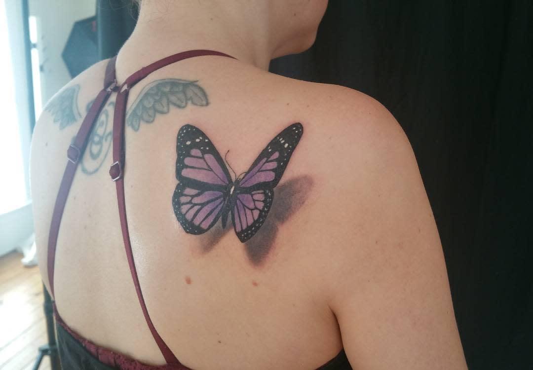 Purple Butterfly Back Tattoo kevinstiles51