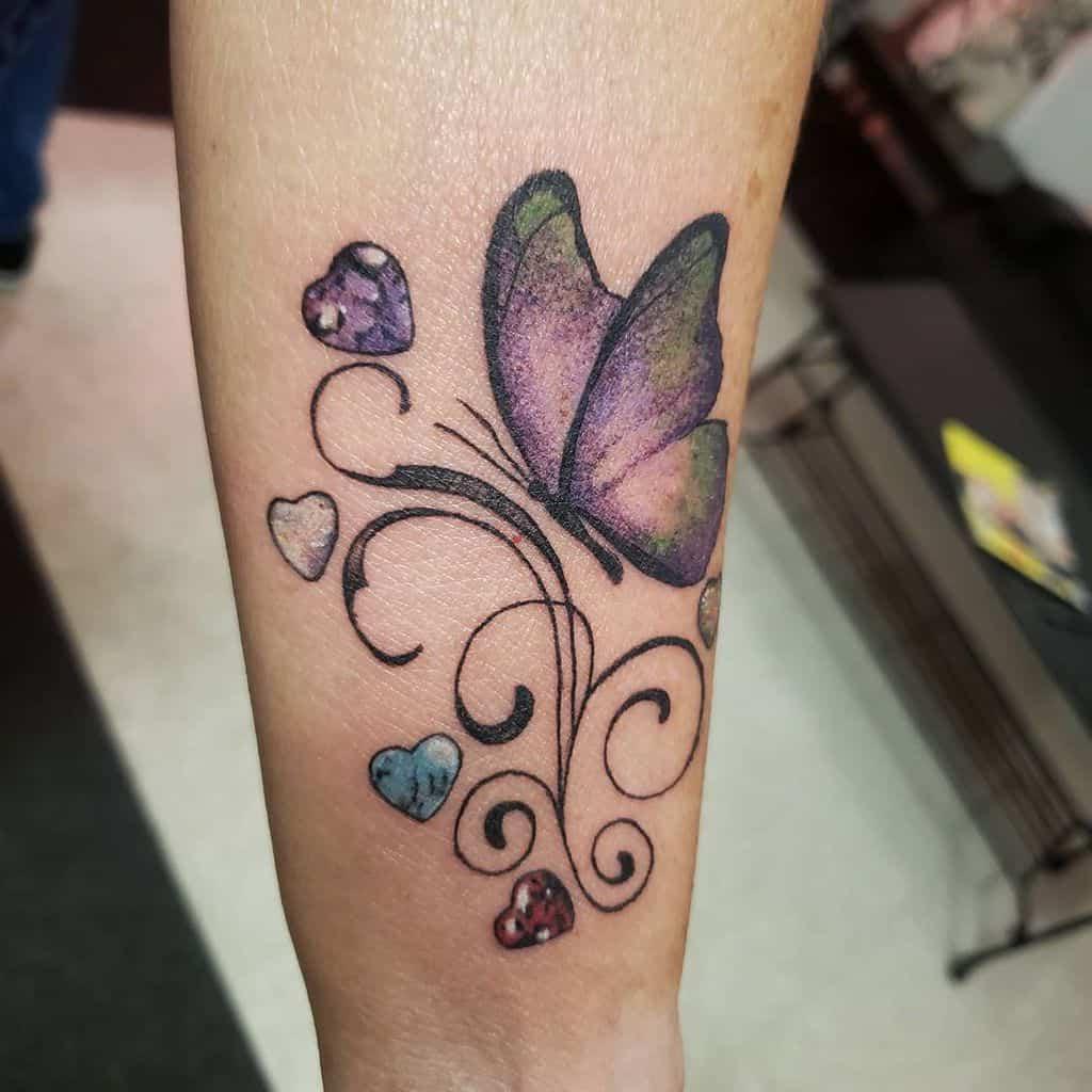 Purple Butterfly Forearm Tattoo arthurbcole
