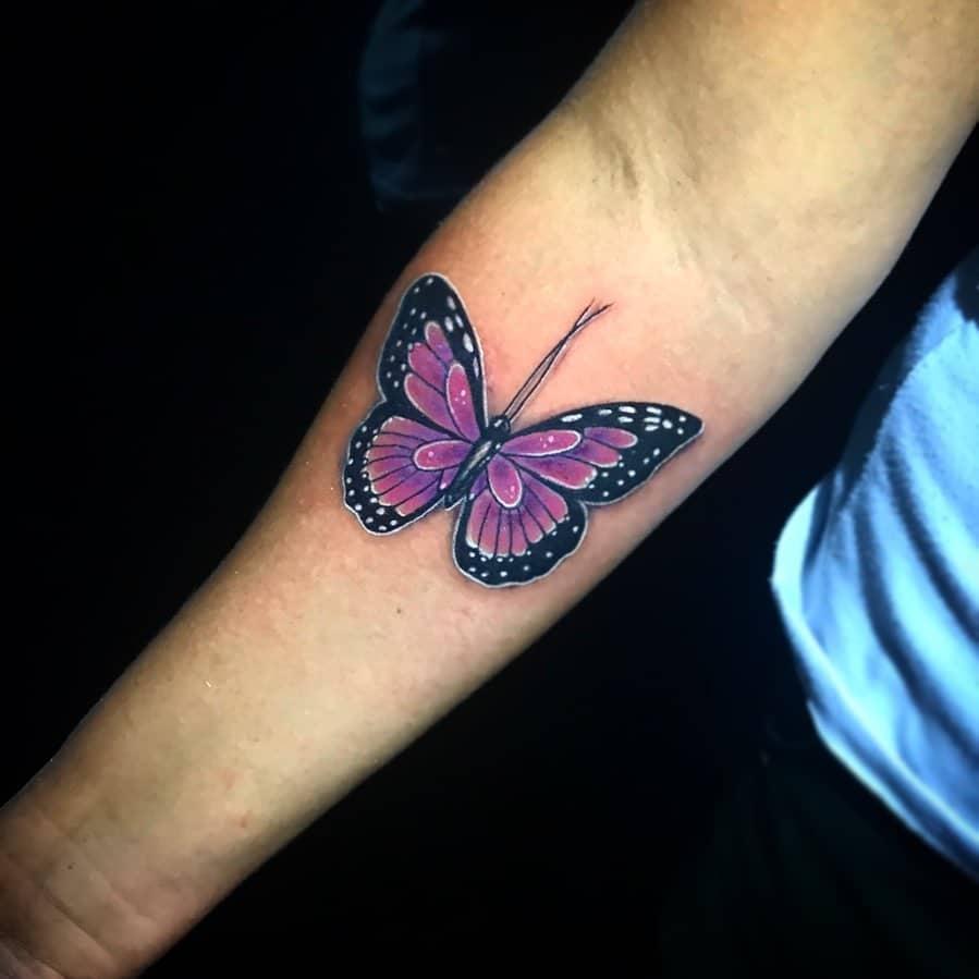 Purple Butterfly Forearm Tattoo caboretattoo